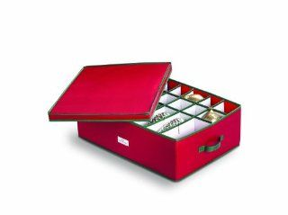 Homz 5831005 Heirloom Ornament Storage Box, Large, Holiday Red   Holiday Decoration Storage Containers