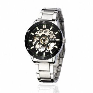 EYKI Men's Stainless Steel Skeleton Automatic Mechanical Wrist Watch EFL8495AG Silver Band Black Face Watches