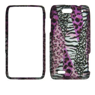 Pink Leopard Safari Zebra Motorola Droid 4 XT894 (Verizon wireless) Case Cover Hard Protector Phone Cover Snap on Case Faceplates Cell Phones & Accessories