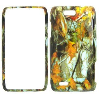 Motorola Droid 4 XT894 Verizon   Camo Camouflage Dry Leaves and Branch Shinny Gloss Finish Hard Plastic Cover, Case, Easy Snap On, Faceplate. Cell Phones & Accessories