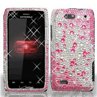 Motorola Droid 4 IV XT894 XT 894 Cell Phone Full Crystals Diamonds Bling Protective Case Cover Silver and Hot Pink 2 tone Gemstones Design Cell Phones & Accessories