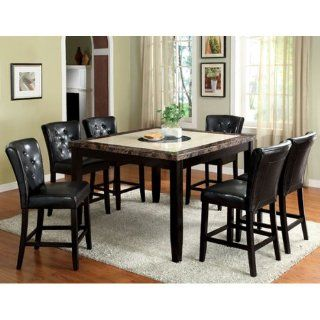 Shop Belleview Counter Height Black Finish Faux Marble Table Top 7 Piece Dining Set at the  Furniture Store. Find the latest styles with the lowest prices from 247SHOPATHOME
