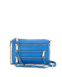 Five Zip Mini Crossbody Bag, Bright Blue   Rebecca Minkoff