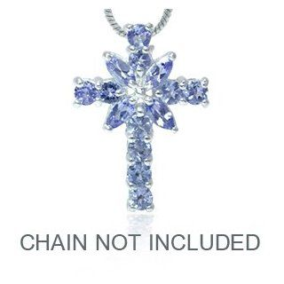 1.1ct. Natural Tanzanite 925 Sterling Silver Cross Pendant SilverShake Jewelry