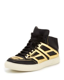 Mens Leather & Metallic Plate High Top Sneaker, Black/Gold   Alejandro Ingelmo