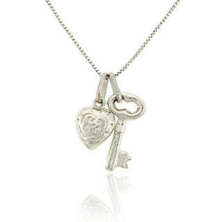 Sterling Silver .925 Old Fashioned Key puffed Heart Charms Pendant Jewelry