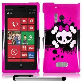 "Pretty & Cute Pink Skull Girl Artistic Design Protector Hard Cover Case for Nokia Lumia 928 (Verizon) Microsoft Windows Phone 8 + Free 1 Garnet House New 4""L Silver Stylus Touch Screen Pen Cell Phones & Accessories"