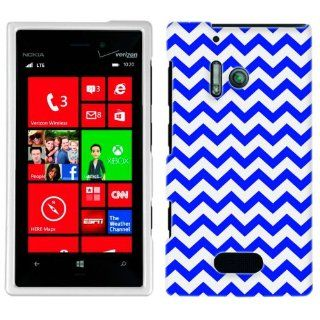 Nokia Lumia 928 Chevron Zig Zag Blue & White Phone Case Cover Cell Phones & Accessories