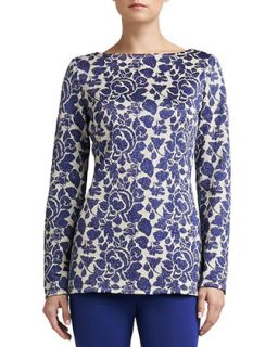 Womens Metallic Floral Jacquard Knit Bateau Neck Tunic with Side Slits   St.