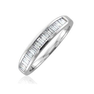 14K White Gold Diamond Wedding Anniversary Ring Band (GH, SI3 I1, 0.50 carat) Diamond Delight Jewelry