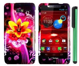"Yellow Dream Flower Pink Stripe White Leaf On Black Premium Design Protector Hard Cover Case for Motorola DROID RAZR M XT907 (Verizon) + Combination 1 of New Metal Stylus Touch Screen Pen (4"" Height, Random Color  Black, Silver, Hot Pink, Green, Light"