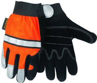 MCR Safety 911DPL Luminator Split Cow Double Leather Palm High Visibility Multi Task Gloves with 3M Reflective Tape, Orange/Black, Large, 1 Pair   Work Gloves