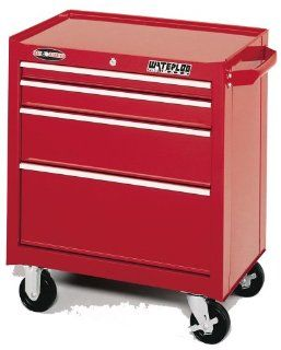 Waterloo PMX2704 26 1/2 Inch Wide by 18 Inch Deep by 32 Inch High Red Tool Cabinet with 4 Ball Bearing Drawers and Tri Channel Construction   Waterloo Toolboxes