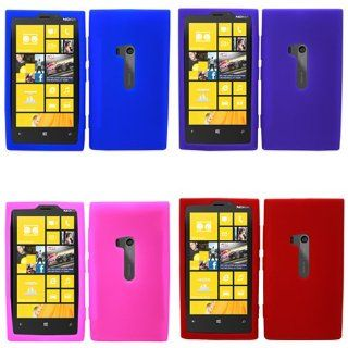 iFase Brand Nokia Lumia 920 Combo Solid Blue + Solid Red + Solid Purple + Solid Hot Pink Silicon Skin Case Faceplate Cover for Nokia Lumia 920 Cell Phones & Accessories