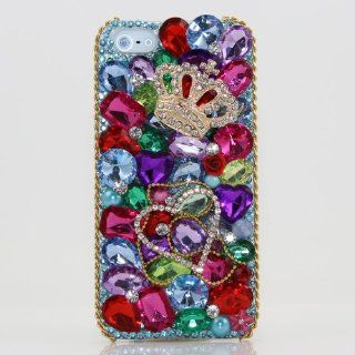 iphone 5 5S 3D Swarovski Crystal Diamond Gold Crown Design Bling Case Cover (100% Handcrafted by BlingAngels) Cell Phones & Accessories