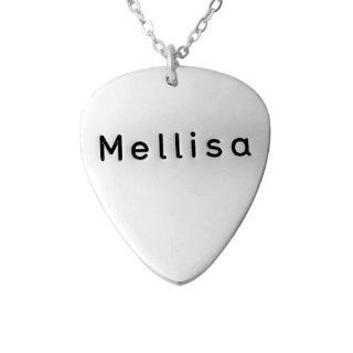 Hushi Jewelry 925 Sterling Silver Guitar Pick Shape Stamp Name Necklace Jewelry