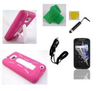 Pink White Armor hybrid kickstand Faceplate Cover Phone Case + Car Charger + Yellow Pry Tool + Screen Protector + Stylus Pen + Extreme Band For Samsung Galaxy S2 S959 S959G SGH S959G Cell Phones & Accessories