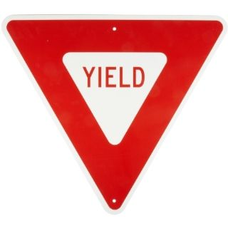 "Brady 80072 B 959 Reflective Aluminum, Red On Reflective White Color Standard Traffic Signs, Legend ""Yield"", 30"" Per Side Size Industrial Warning Signs"
