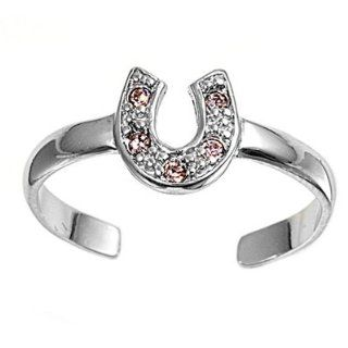 7MM Italian .925 Sterling Silver LUCKY HORSE SHOE with CLEAR Stones Summer Flip Flops Sandal Toe Ring (One Size Fit All) Jewelry