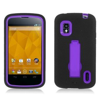 Aimo Wireless LGE960PCMX014S Guerilla Armor Hybrid Case with Kickstand for LG Nexus 4 E960   Retail Packaging   Black/Purple Cell Phones & Accessories