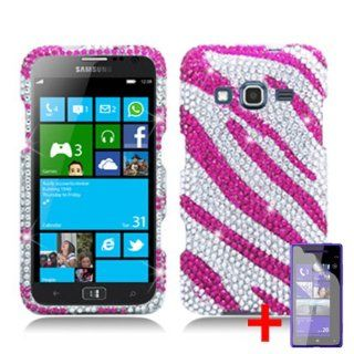SAMSUNG ATIV S NEO PINK WHITE ZEBRA ANIMAL DIAMOND BLING COVER SNAP ON HARD CASE + FREE CAR CHARGER from [ACCESSORY ARENA] Cell Phones & Accessories