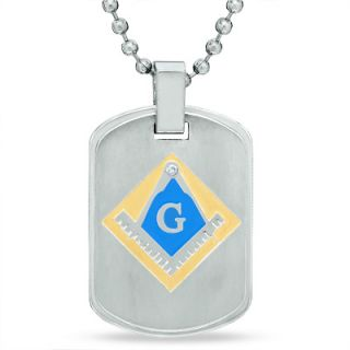 Mens Diamond Accent Masonic Dog Tag Pendant in Stainless Steel