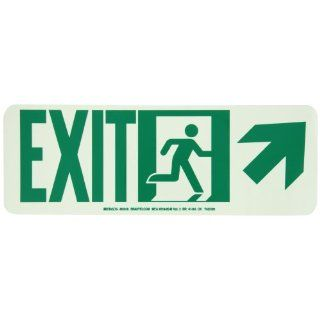 "Brady 81818 Glow In The Dark High Intensity Self Sticking Polyester Glow In The Dark Safety Guidance Sign   Nyc Approved, 5"" X 14"", Legend ""Exit (W/Running Man   Arrow Right Up)"" Industrial Warning Signs"