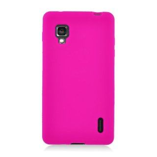LG Optimus G E970 Hot Pink Soft Silicone Gel Skin Cover Case Cell Phones & Accessories