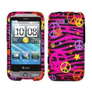 Pink Black Zebra Orange Purple Pink Yellow Colorful Peace Star Rubberized Snap on Design Hard Case Faceplate for Htc Freestyle F5151 / At&t Cell Phones & Accessories