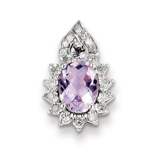 Sterling Silver Diamond Pink Amethyst Pendant, Best Quality Free Gift Box Satisfaction Guaranteed Jewelry