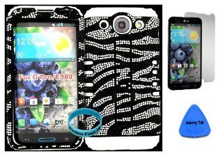 LG Optimus G Pro E980 Black and Silver Zebra Bling Plastic Snap on + White Silicone Kickstand Cover Case (Included Wristband, Screen Protector and Pry Tool Exclusively By Wirelessfones TM) Cell Phones & Accessories