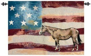 "Shop American Flag with Horse Cotton Wall Art Hanging Tapestry 26"" x 36"" at the  Home D�cor Store. Find the latest styles with the lowest prices from Manual Weavers"