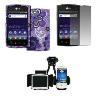 EMPIRE LG Optimus M+ MS695 Design Case Cover (Purple Flower Power Design Splatter) + Car Windshield Mounts + Screen Protector [EMPIRE Packaging] Cell Phones & Accessories