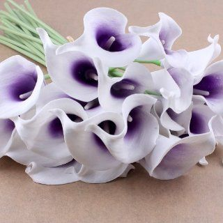 Shop Nsstar Calla Lily Bridal Wedding Bouquet Latex Real Touch Flower Bouquets (10pcs (White Flower+Purple core)) at the  Home D�cor Store. Find the latest styles with the lowest prices from NSSTAR