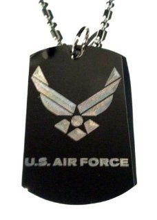 United States of America AIR Force USAF Logo   Military Dog Tag Luggage Tag Key Chain Metal Chain Necklace