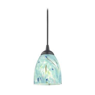 Black Mini Pendant Light with Turquoise Art Glass Shade   Ceiling Pendant Fixtures