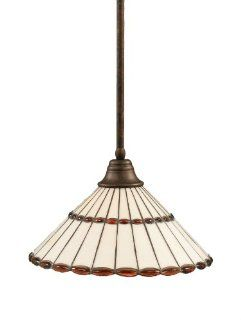 Toltec Lighting 26 BRZ 974 Stem Pendant Light Bronze Finish with Honey Glass and Amber Brown Jewels Tiffany Glass, 16 Inch   Ceiling Pendant Fixtures