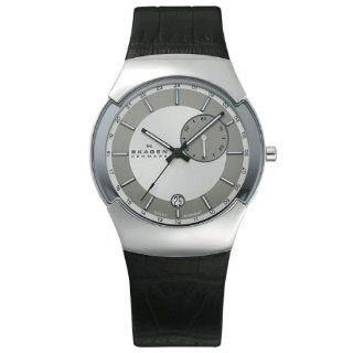Skagen Men's 983XLSLBC Black Label Stainless Steel, Black Leather Band, Gmt Dual Times Zone Watch at  Men's Watch store.
