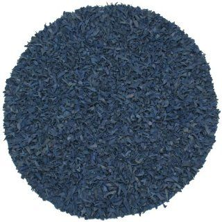 Blue Leather Shag 8'x8' Rug   Handmade Rugs