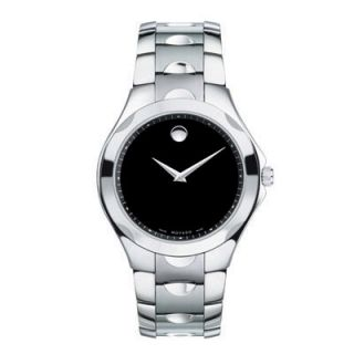 Mens Movado Luno Stainless Steel Watch with Black Dial (Model
