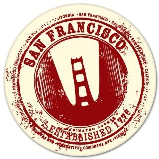 "San Francisco California Travel Stamp bumper sticker decal 4"" x 4"" Automotive"