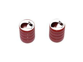 Dutch Rabbit   Motorcycle Bike Bicycle   Tire Rim Schrader Valve Stem Caps   Red Automotive