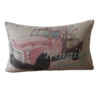 Retro Pink Pickup truck Print Rectangular Throw Pillows 30CMx45CM Lumbar Cushions Linen Decoative Pillows
