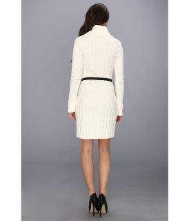 Calvin Klein L/S Cable Knit Cowl Neck Sweater Dress Ivory