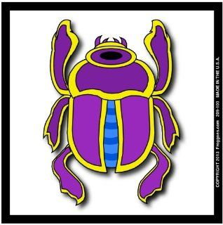 "EGYPTIAN BEETLE   PURPLE/WHITE   STICK ON CAR DECAL SIZE 3 1/2"" x 3 1/2""   VINYL DECAL WINDOW STICKER   NOTEBOOK, LAPTOP, WALL, WINDOWS, ETC. COOL BUMPERSTICKER   Automotive Decals"