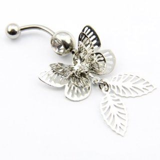 316L Surgical Steel 14 Guage Clear Gem Crystal Hollow 3D Lively 3 Wings Butterfly Navel Belly Ring Bar Stud Barbell Body Piercing Jewelry Jewelry