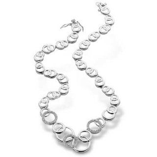 Polished (.925) S/S C.Z. Diamond Interlocking Circle Necklace (Nice Gift, Special Sale) Jewelry