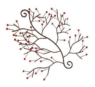 Club Pack of 12 Bronze Metal Red Berries Christmas Wall Swag Sculptures