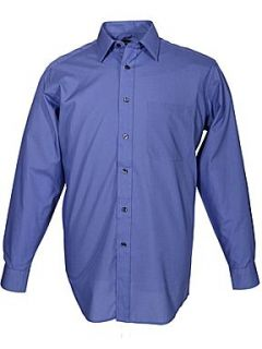 Double TWO King size classic plain long sleeve shirt Midnight Blue