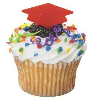 RED GRADUATION Grad CAP Hat (12) Party Cupcake Cake Topper Decors Pop Pics Picks Kitchen & Dining